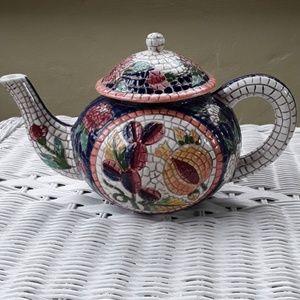 EUC Beautiful Faux Mosaic looking teapot